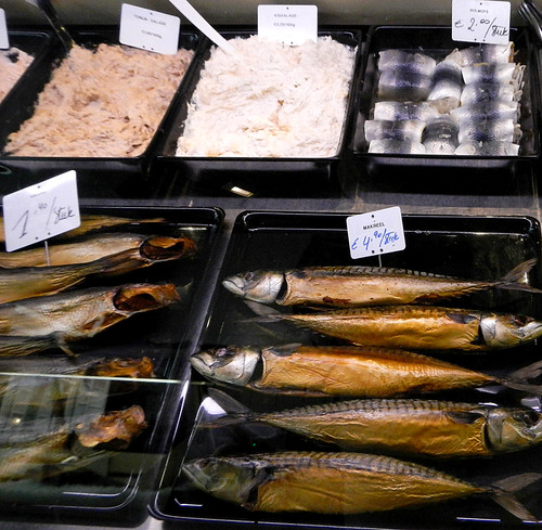 Window in a fish shop in Bruges, Belgium