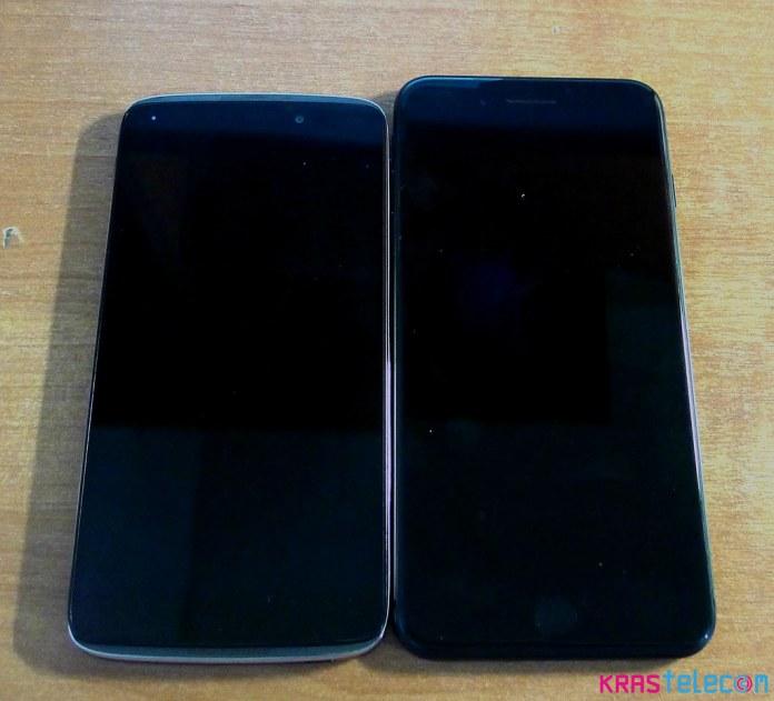 По габаритам iPhone 7 Plus длиннее Alcatel Idol 3 с таким же размером экраном