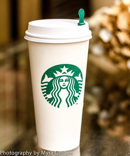 Starbucks on my Patio by Myra Golden