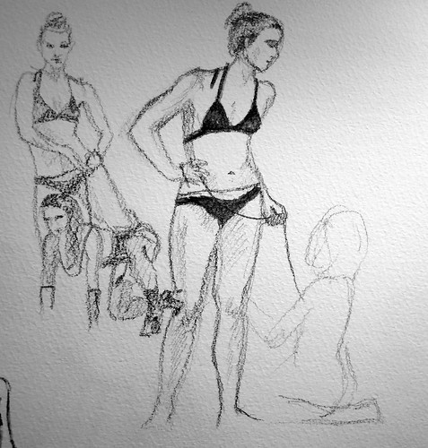 Pencil sketches of models in lingerie and chains/leashes