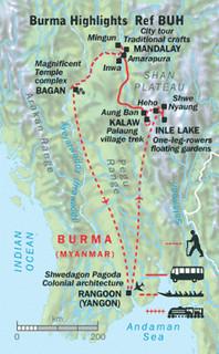 burma highlights map