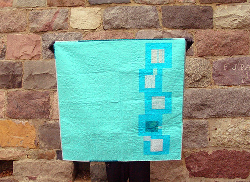 blue squares improv baby quilt back