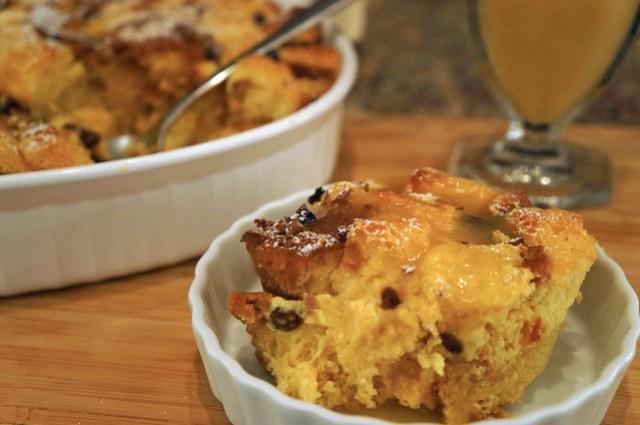 pandoro bread pudding with warm bourbon sauce