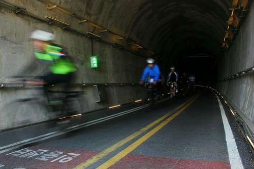 Cyclist-only tunnels through the mountains