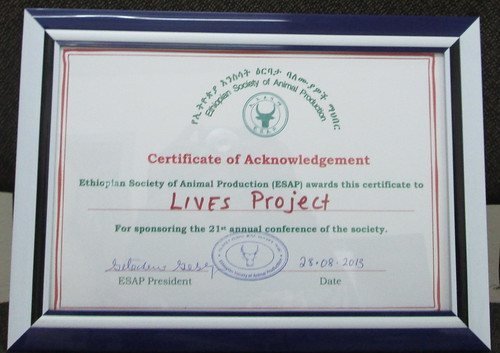 Certificate of acknowledgement for LIVES