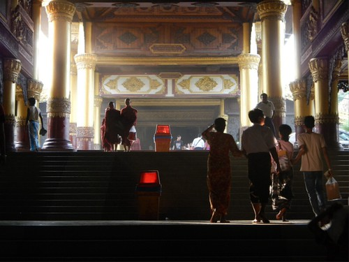 stairs leading up to the Golden Shwedagon Pagoda in Yangon, Myanmar