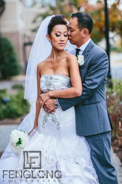 Vietnamese bride and groom portrait