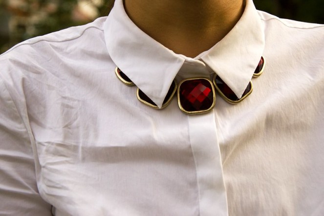 red ruby gold necklace, white COS short sleeved blouse