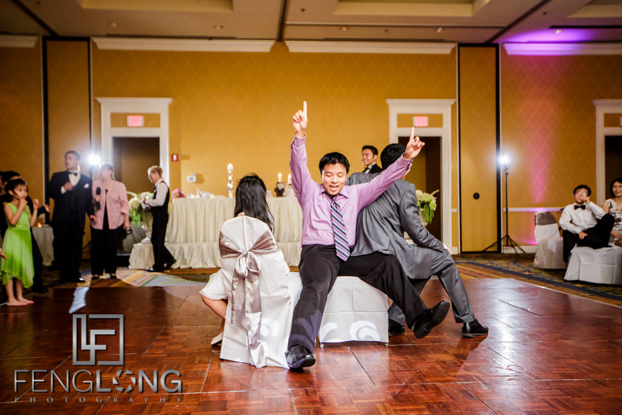 Musical chairs at wedding reception