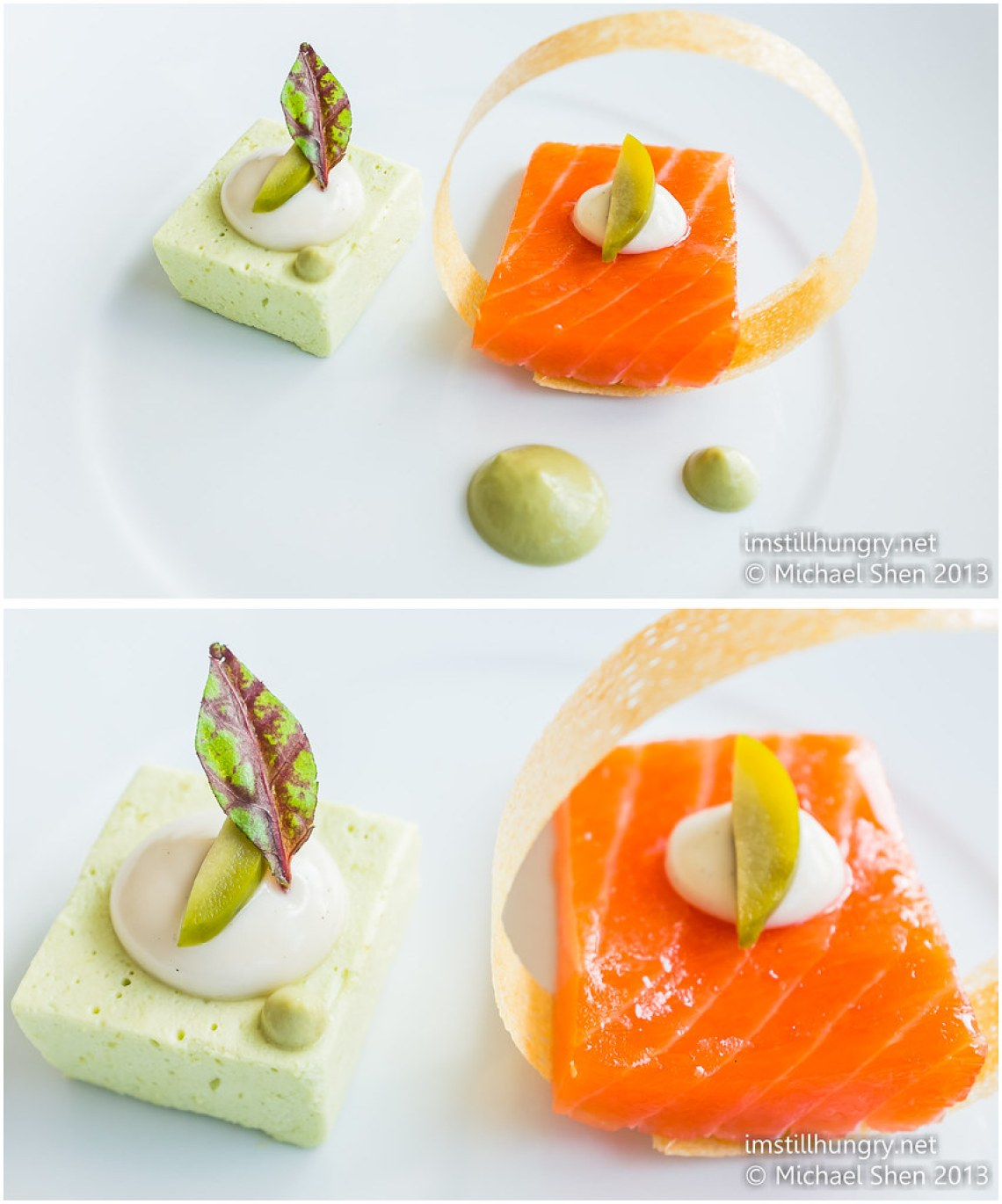 Confit ocean trout w/fennel, grean olive mousse and vanilla bavarois berowra waters inn