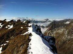 Napfspitze, die letzten Schritte zum Gipfelkreuz