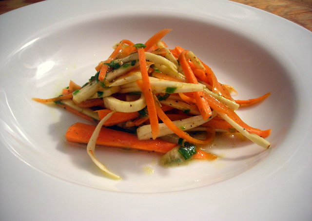 Carrot and parsnip salad, with scallion pesto