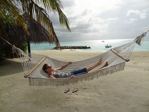 Laying in a hammock on our beach