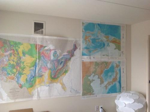 Maps on my bedroom wall. Also, my amazingly-silly Ikea lamp. It looks like a happy alien!