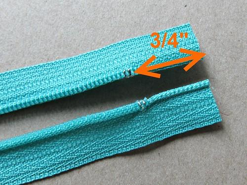 Zippy pouch tutorial - making zip tabs
