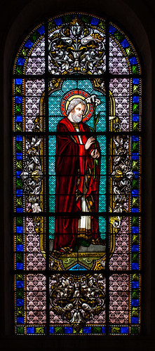 St. Gregoire Church, Stenay, France.  L'eglise de St. Gregoire. Stained Glass.  Joseph.