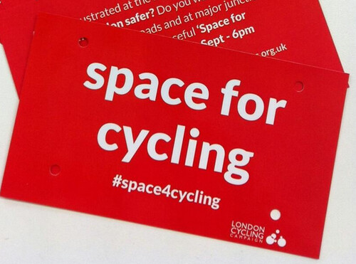 Space for Cycling LCC bike plate