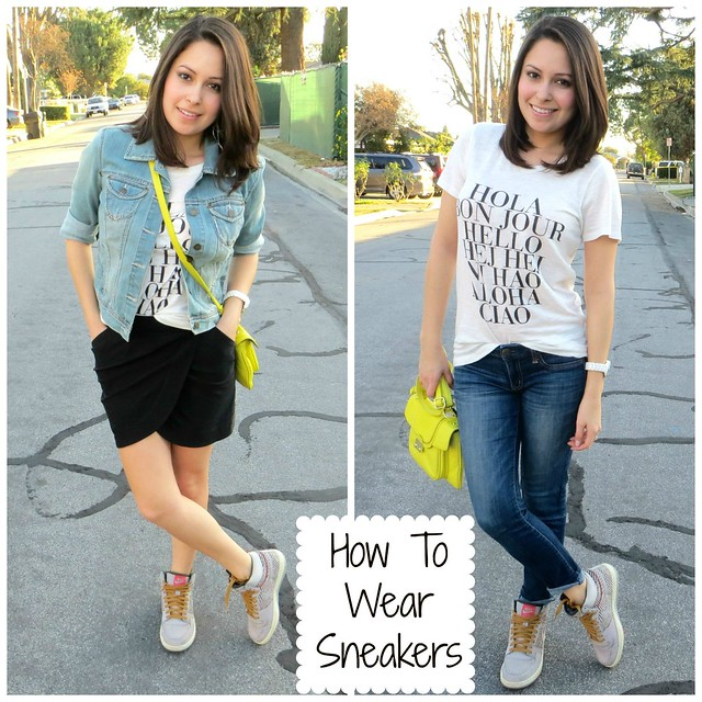 Two Outfits with Sneakers
