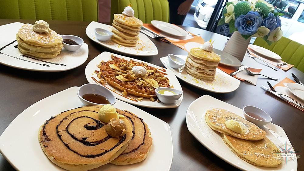 Lemon or Orange Pancake Peak, Chocolate Marble Pancake, Blueberry Pancake, Durian Pancake and Caramel Banana Walnut Waffle, Pancake House International, Jalan Pantai, Kota Kinabalu, Sabah, Chloe Tiffany Lee