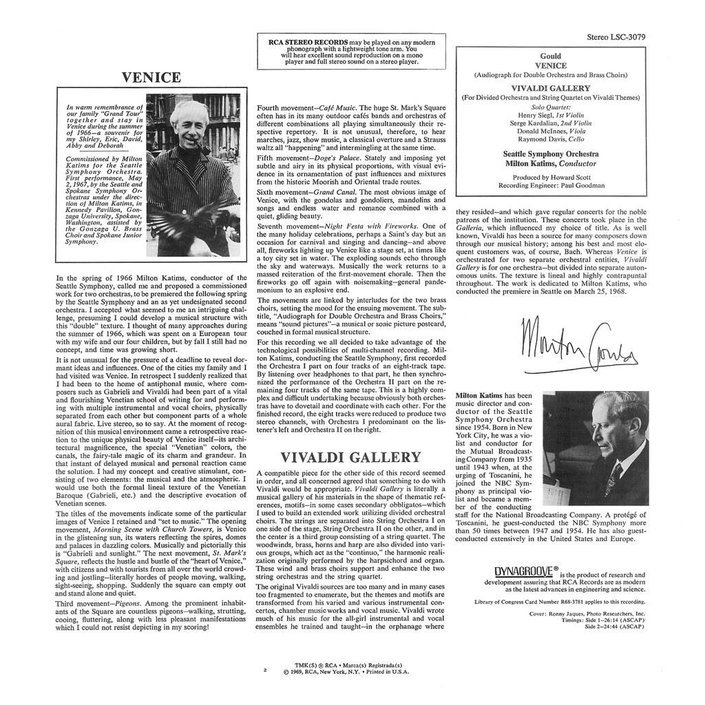 Morton Gould - Venice Vivaldi Gallery