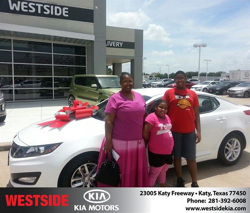 Thank you to Lasonya Stevens on the 2013 Kia Optima from Rubel Chowdhury and everyone at Westside Kia! by Westside KIA