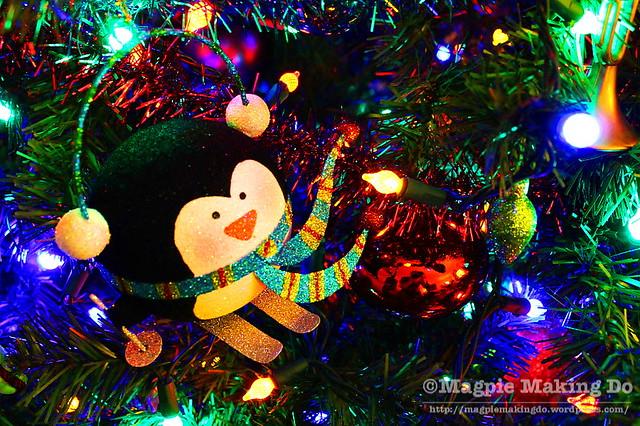 Skiing penguin ornament
