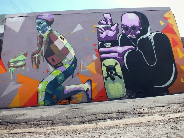 Colour Doomed and Om ni vore street art on Elm Street, Cardiff