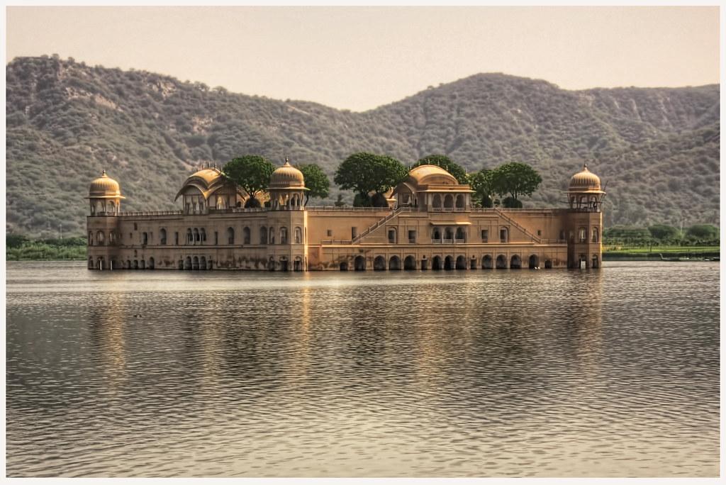Jaipur IND - Jal Mahal Palace amidst Man Sagar Lake