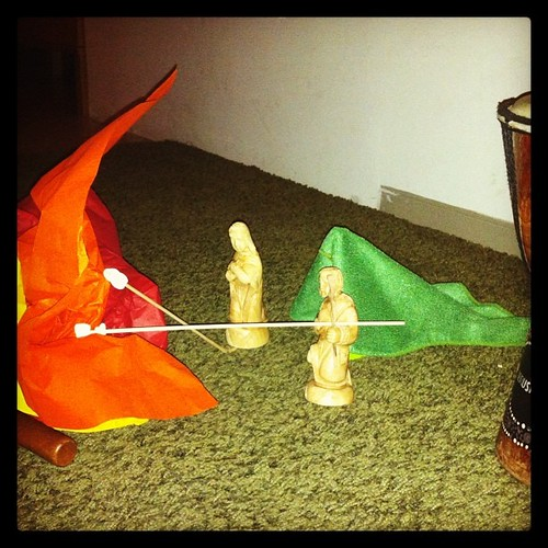Mary and Joseph decide to camp and roast marshmallows. by nikki.j.thorpe