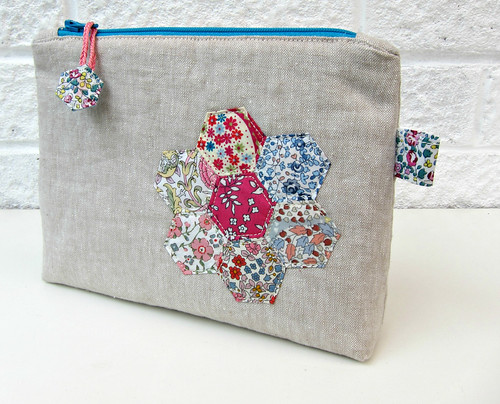 Linen and Liberty hexie applique pouch