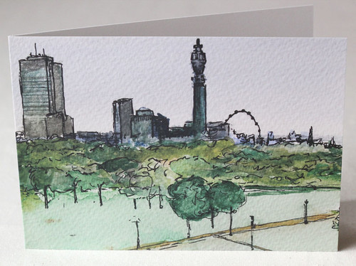 View from Primrose Hill Litho Print Greeting Card
