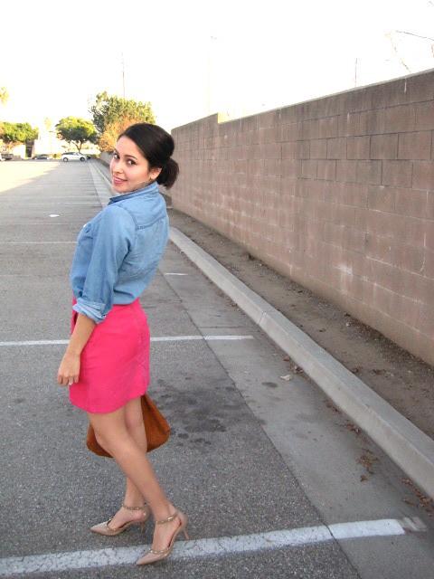Gold Polka Dots - Chambray shirt and pink skirt 4