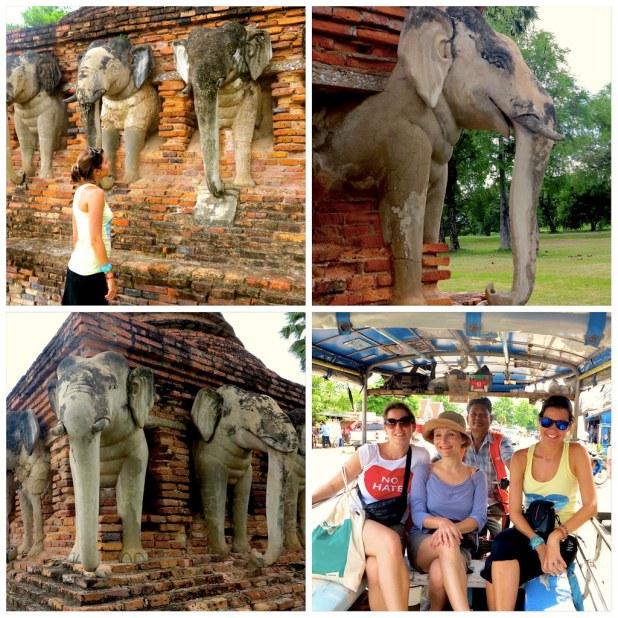 Templo elefantes sukhothai