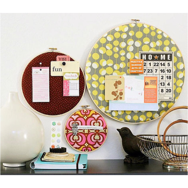 embroidery hoop pinboards