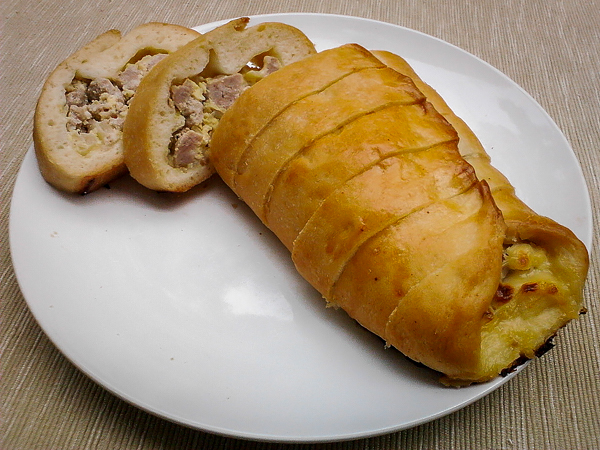 Sausage bread for breakfast.