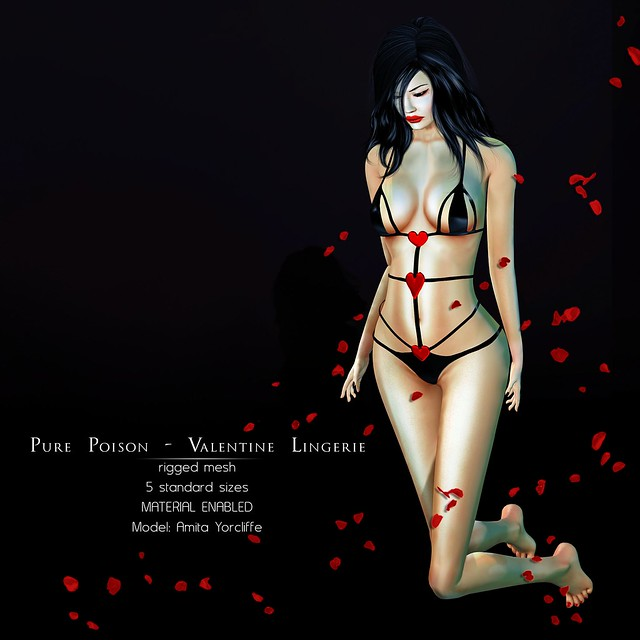Pure Poison - Valentine Lingerie - Rigged Mesh - Group Gift