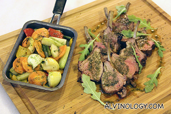Lamb Rack with grilled vegetables. (serves 2-3) S$60