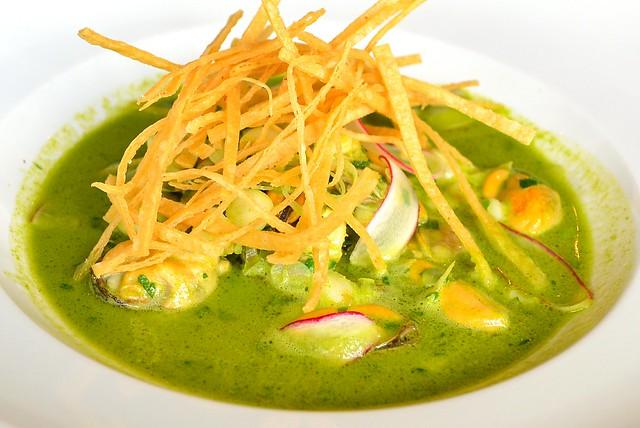 clam & mussel pozole rancho gordo hominy, green garlic, tortilla