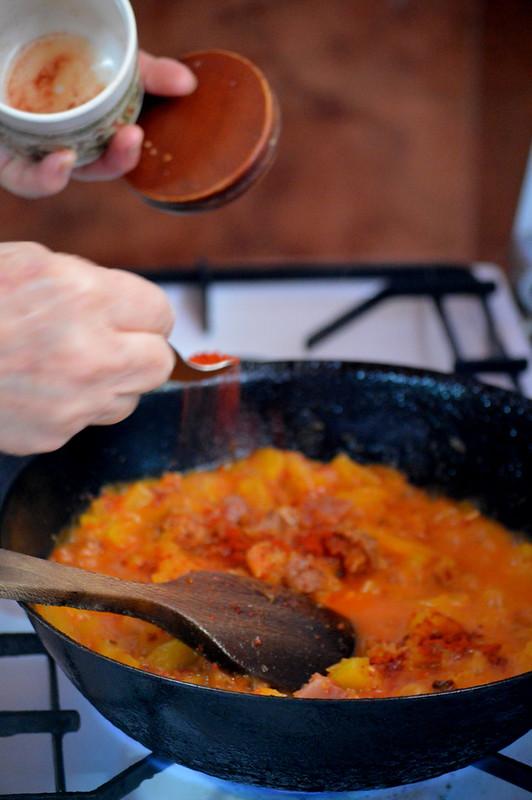 Calabaza frita con pimiento choricero