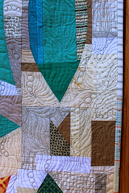 Free Motion Quilting on the improv double wedding ring quilt