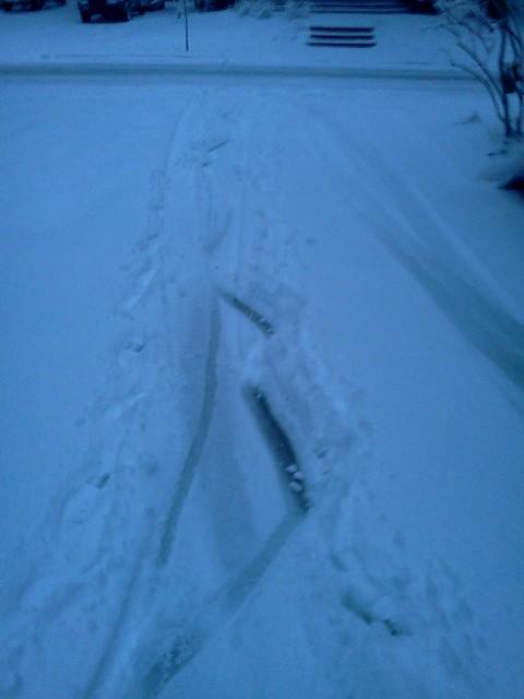 Rear wheel slippage in the snow
