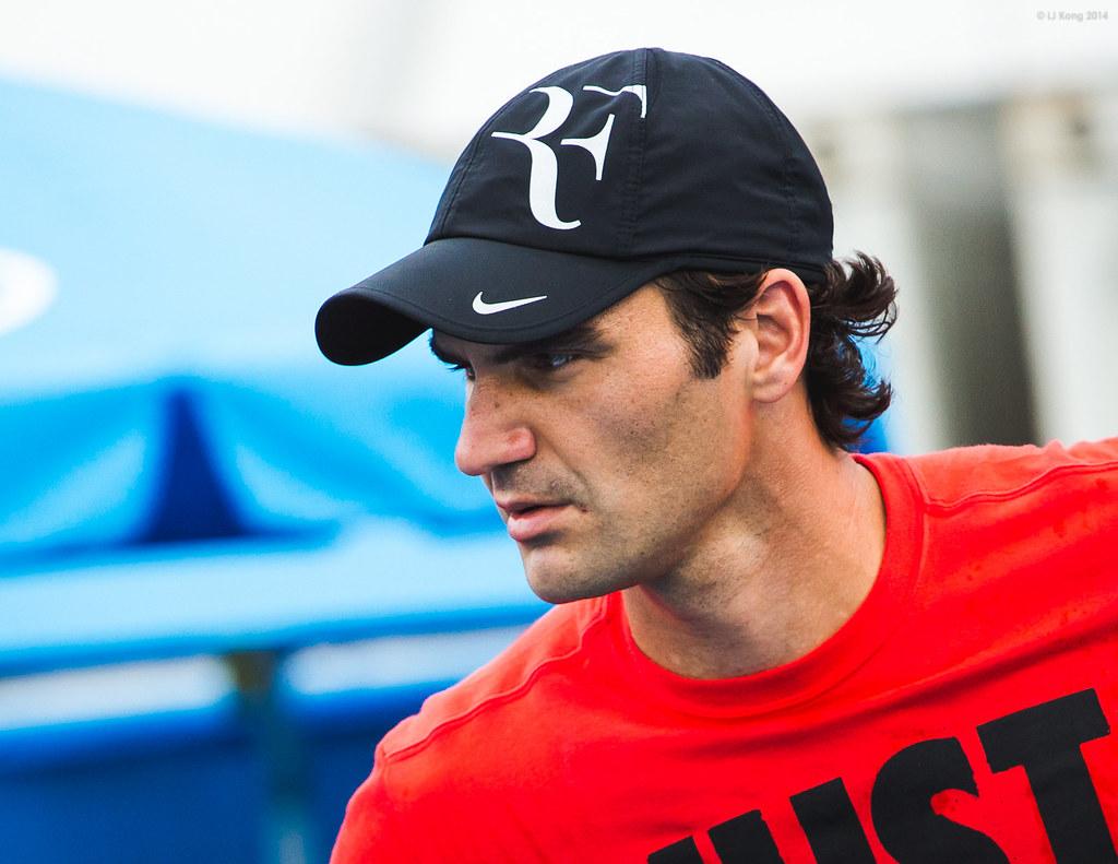 Roger Federer Day 3 Practice Session Australian Open 2014