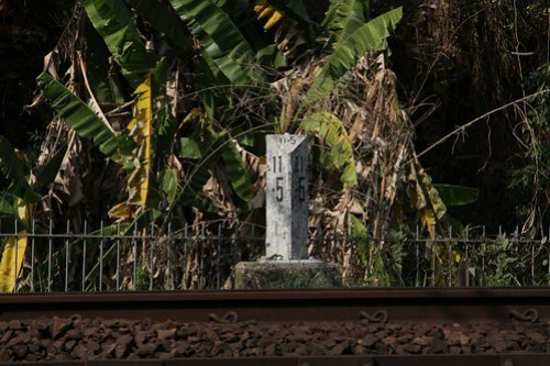 11.5 km post on the MTR East Rail line, south of Fo Tan