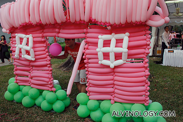 Pink balloon house
