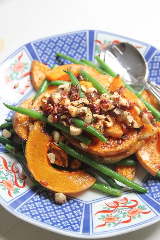 lemon truffle pumpkin and green bean salad