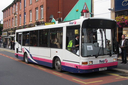 First Greater Manchester Dennis Dart SLF, Marshall body, X787 HLR, outside The Ash Tree