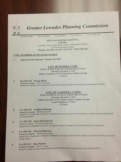 Agenda page 1 @ GLPC 2013-11-25