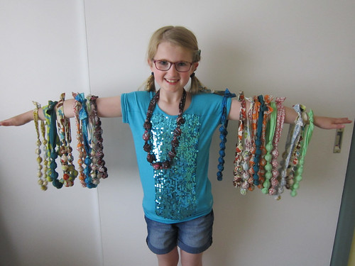 fabric tube & wooden bead necklaces
