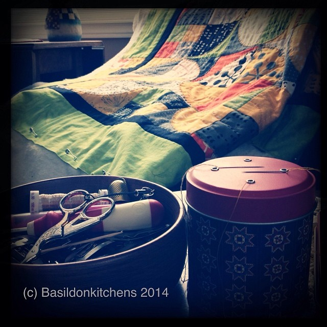 18/1/2014 - happy place {on a snowy afternoon my happy place is on the sofa with my hand quilting.} #fmsphotoaday #happyplace #handquilting #quilting