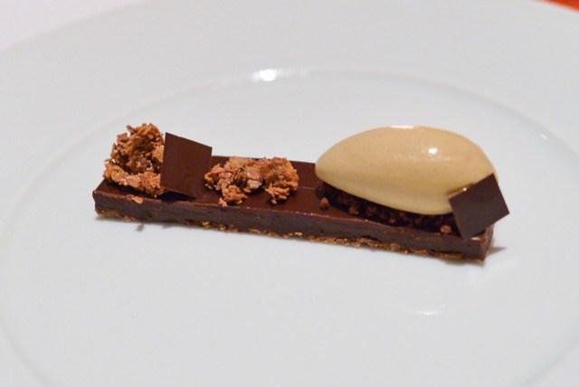 Dark Chocolate Torte, Feuilletine, Chicory Ice Cream